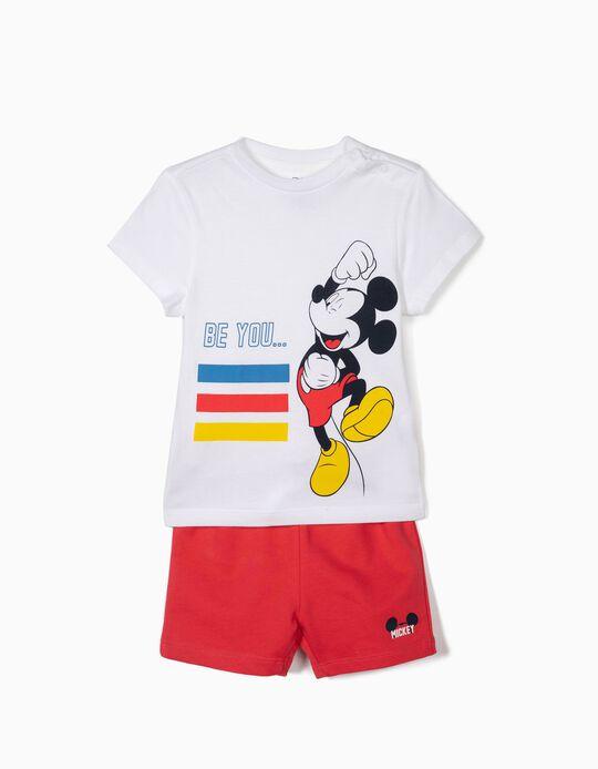 Camiseta y Short para Bebé Niño 'Mickey', Blanco y Rojo