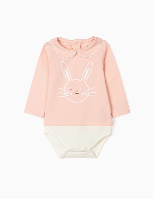 Long Sleeve Bodysuit for Newborn Baby Girls, 'Bunny', Pink/White