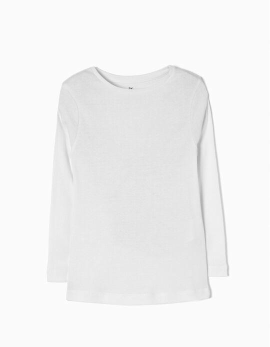 T-shirt Manga Comprida para Menina, Branca
