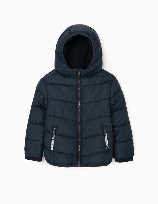 Padded Hooded Jacket for Boys, Dark Blue