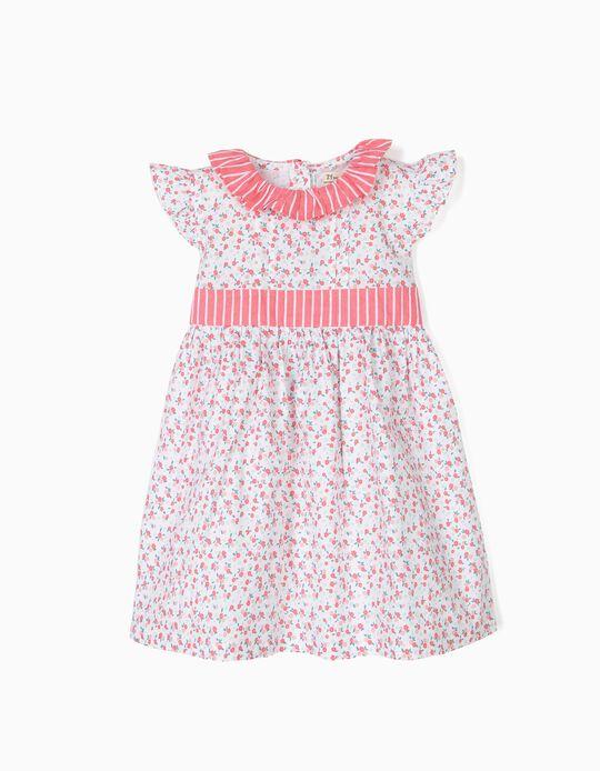 Vestido para Bebé Menina Flores e Riscas, Branco e Rosa