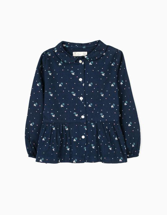 Blusa de Sarga de Flores Azul
