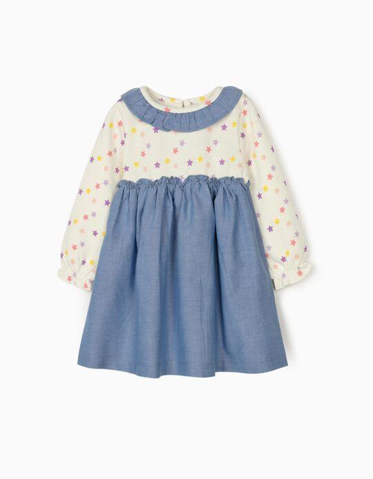 Dual Fabric Dress for Baby Girls, 'Stars', White/Blue