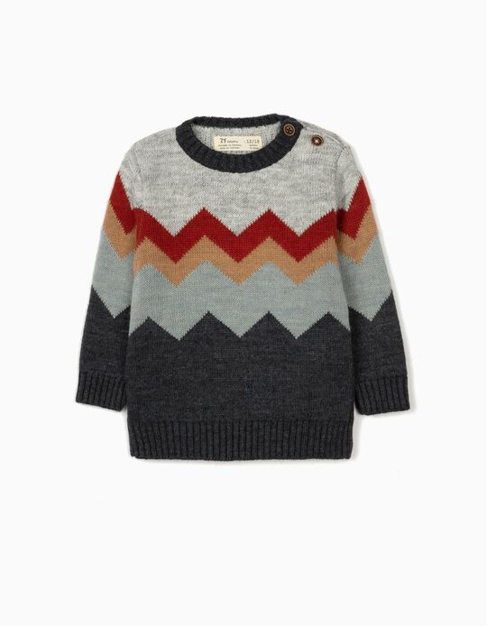 Jumper for Baby Boys, 'Zig Zag', Grey