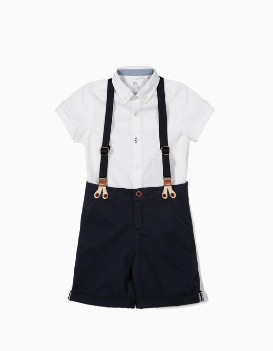SET SHORT WITH SHIRT, DARK BLUE9, 3/4
