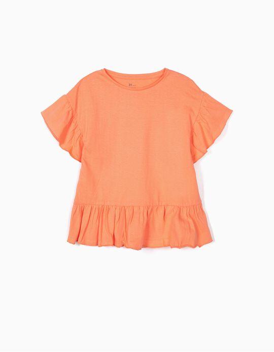 T-shirt com Folhos para Meninas, Coral