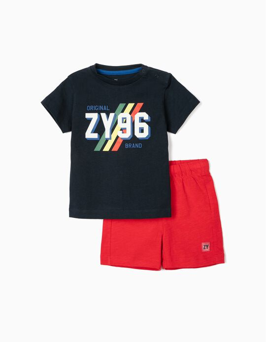 T-shirt & Shorts for Baby Boys, 'ZY 96', Dark Blue/Red