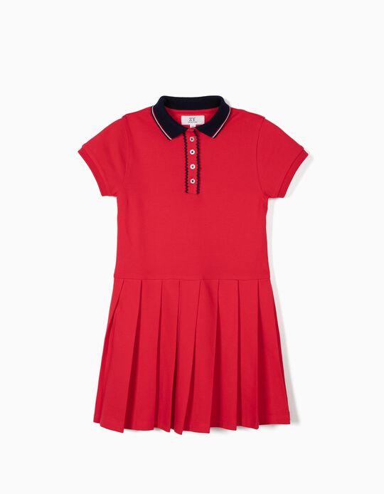 Vestido Piqué para Menina, Vermelho
