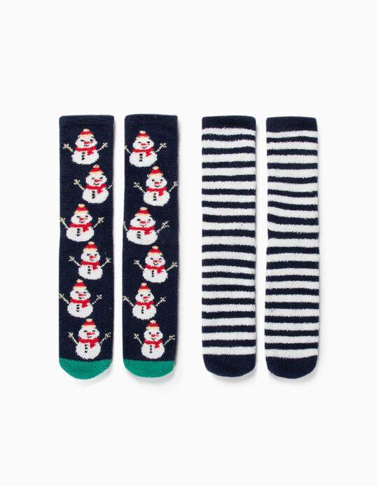 2 Pares Meias Antiderrapantes para Criança 'Christmas', Azul/Branco