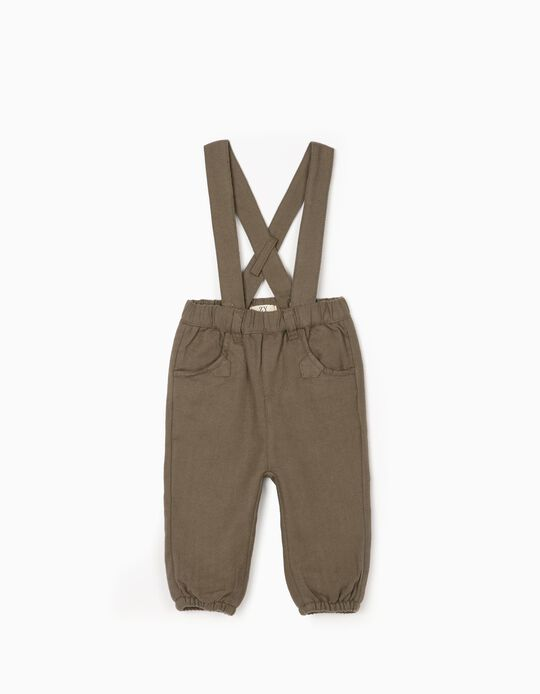 Trousers with Straps for Newborn Baby Boys, Green