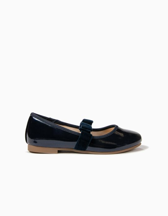 Varnished Ballerinas with Bow for Girl, Dark Blue
