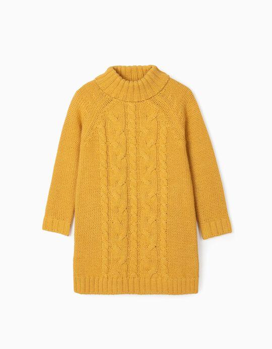Vestido de Punto para Niña, Amarillo Tostado
