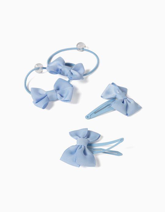 2 Horquillas + 2 Gomas del Pelo para Niña 'Bows', Azul Claro