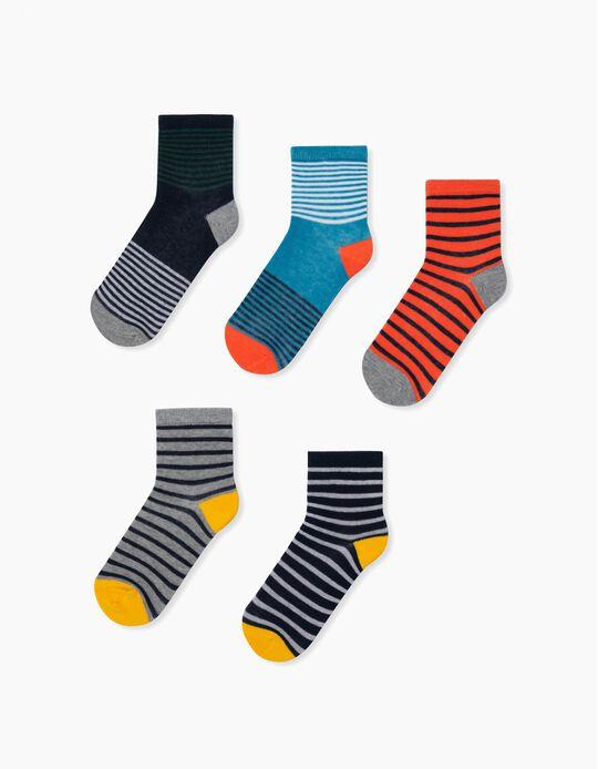 5 Pairs of Socks for Boys, 'Stripes', Multicolour