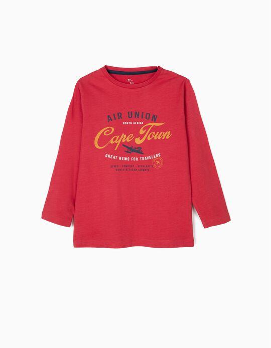 T-shirt Manga Comprida para Menino 'Cape Town', Vermelha