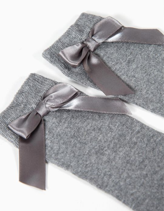 Knee-High Socks for Baby Girls with Bow, Grey