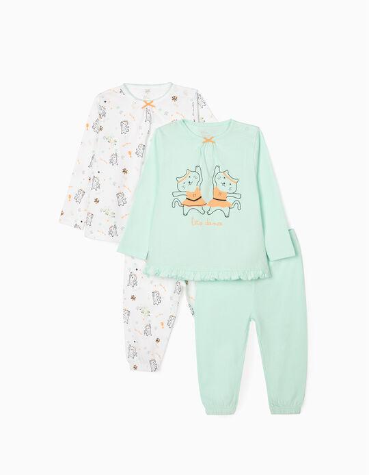 Pijama 4 Prendas para Bebé Niña 'Let's Dance', Verde Agua/Blanco