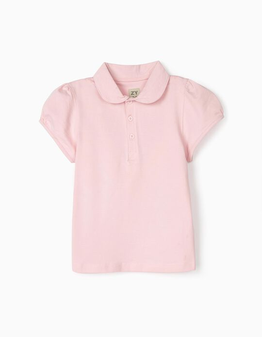 Short Sleeve Polo Shirt for Girls, Pink