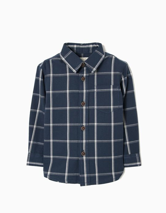 Camisa para Bebé Menino Quadrados, Azul Escura