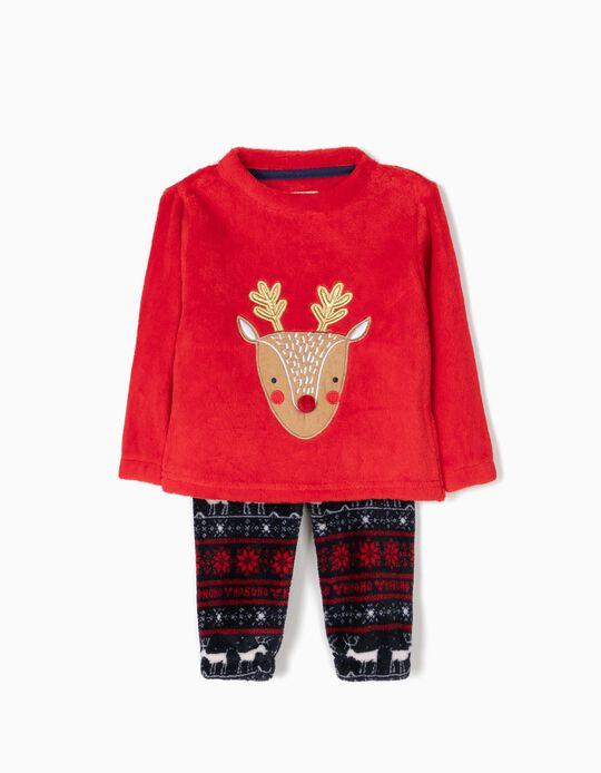 Pijama Camiseta y Pantalón de Reno Navidad Rojo