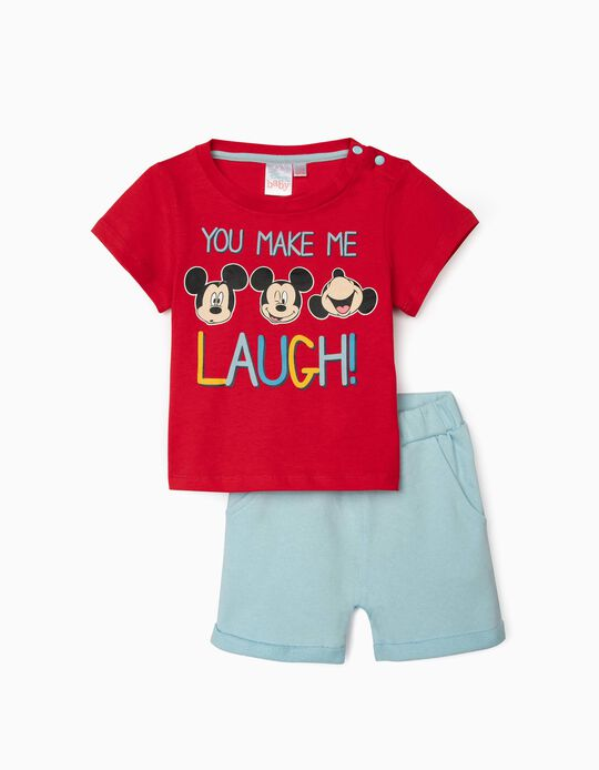 T-shirt and Shorts for Baby Boys, 'Mickey Laugh', Red/Blue