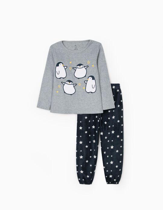 Pijama Polar para Niña 'Dancing Penguin', Gris/Azul Oscuro