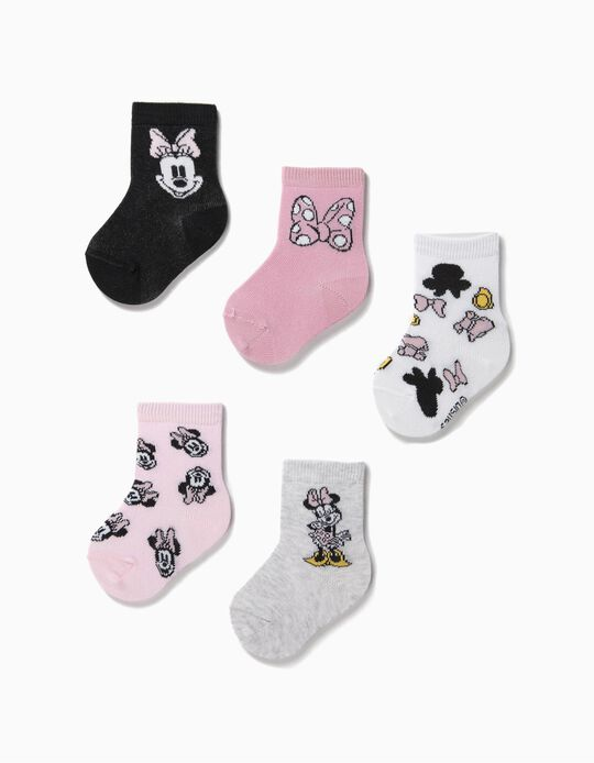 5 Pairs of Socks for Baby Girls, 'Minnie Mouse', Multicoloured
