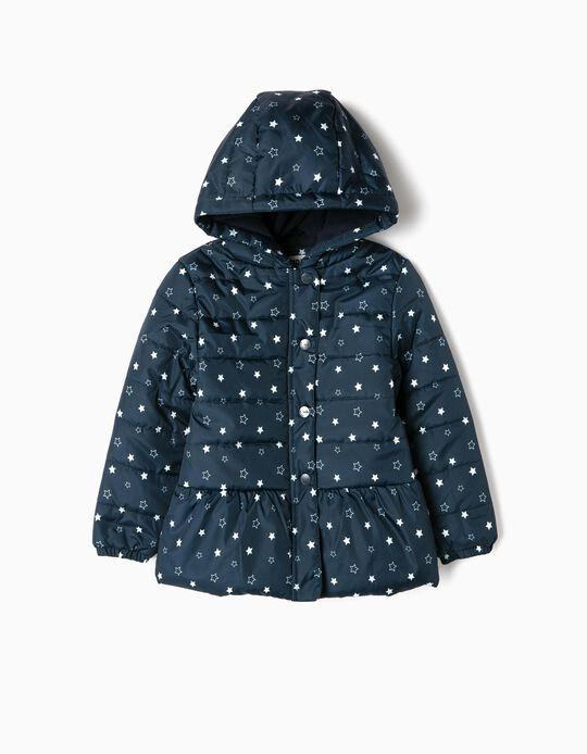 Cazadora Acolchada para Niña 'Stars', Azul Oscura
