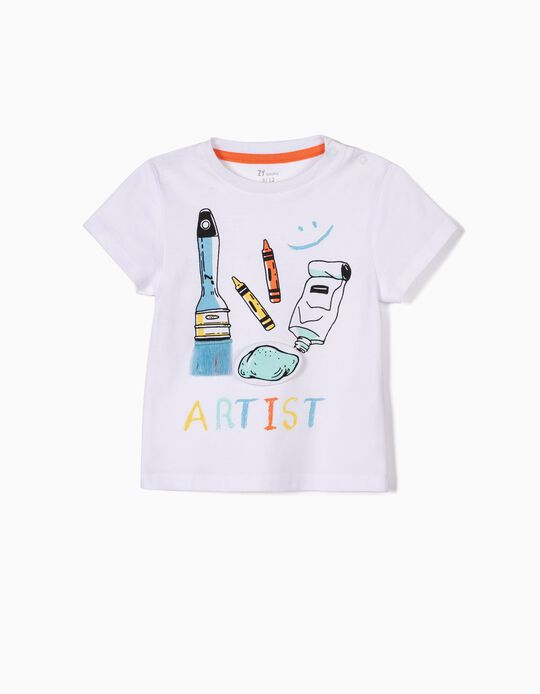Camiseta para Bebé Niño 'Be an Artist', Blanca