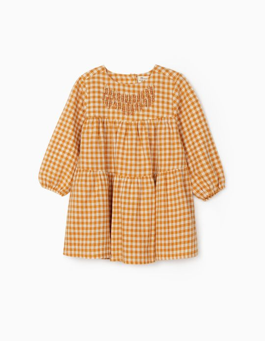 Vestido Ajedrez Vichy para Bebé Niña, Amarillo Oscuro/Blanco