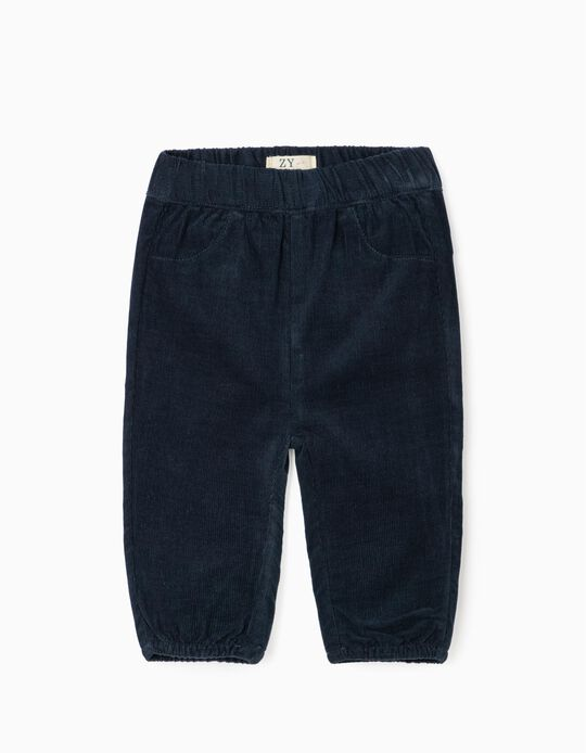 Pantalón de Pana para Recién Nacido, Azul Oscuro