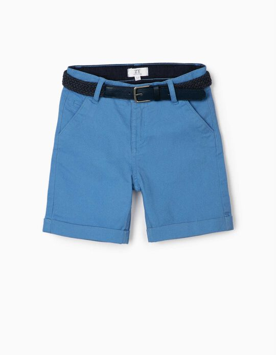 Chino Shorts with Belt for Boys, Blue