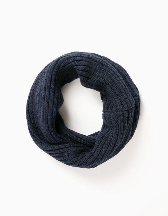 Gola de Malha Tricotada Azul Escura
