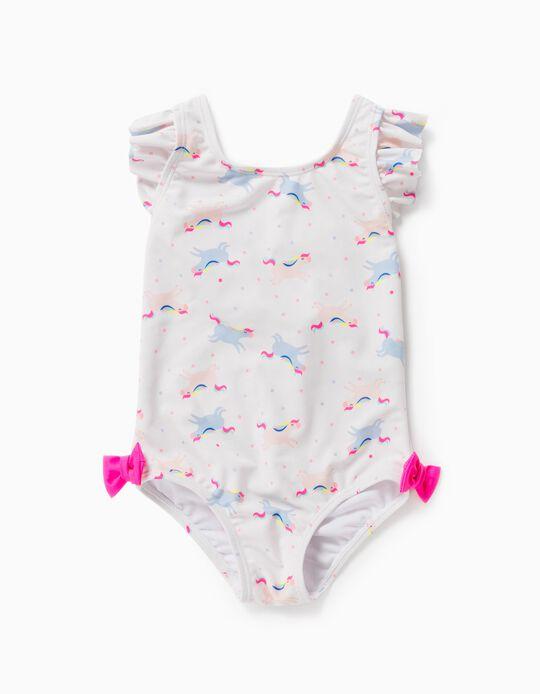 Fato de Banho Proteção UV 80 para Bebé Menina 'Unicorns' , Branco
