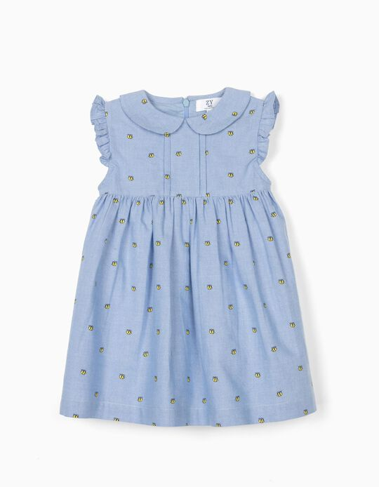 Dress with Bloomer Shorts for Baby Girls 'Bees', Blue