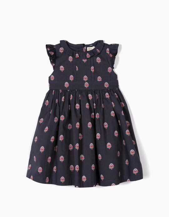 Vestido para Menina Flores, Azul Escuro