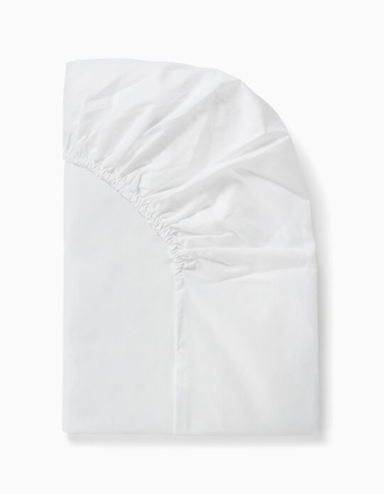 Sábana Ajustable de Cuna 120x60cm Interbaby Blanca