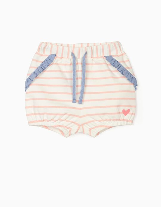 Striped Shorts for Baby Girls, White/Pink
