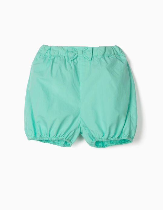 Shorts with Little Bow for Baby Girls, Aqua Green