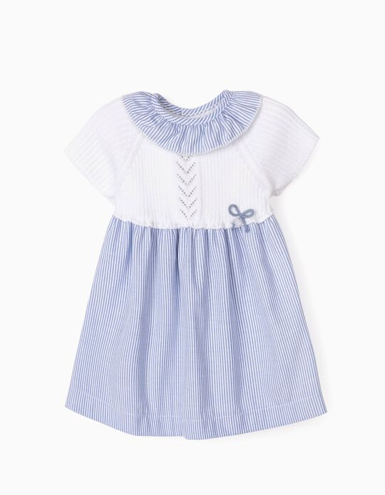 Robe bimatière nouveau-née, blanc/bleu