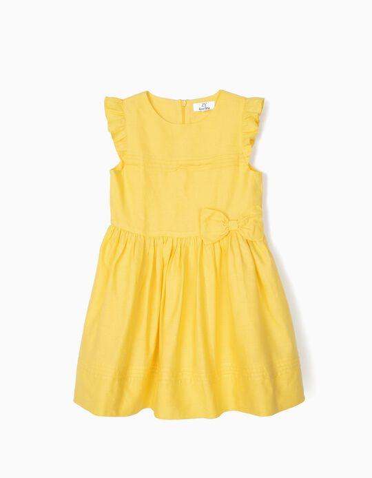Vestido para Menina com Laço e Folhos, Amarelo