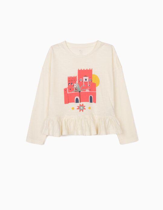 Camiseta de Manga Larga con Volante para Niña, Blanca