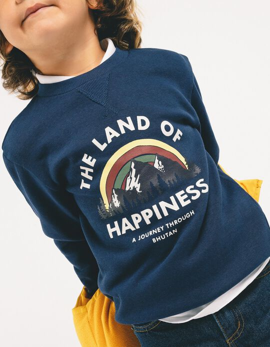 Sweatshirt para Menino 'The Land of Hapiness', Azul Escuro