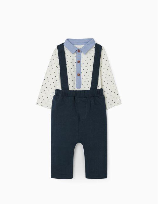 Pantalón con Tirantes y Body para Recién Nacido, Azul/Blanco