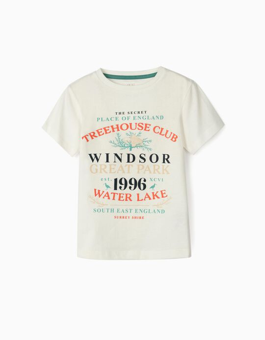 T-shirt para Menino 'Treehouse Club', Branco
