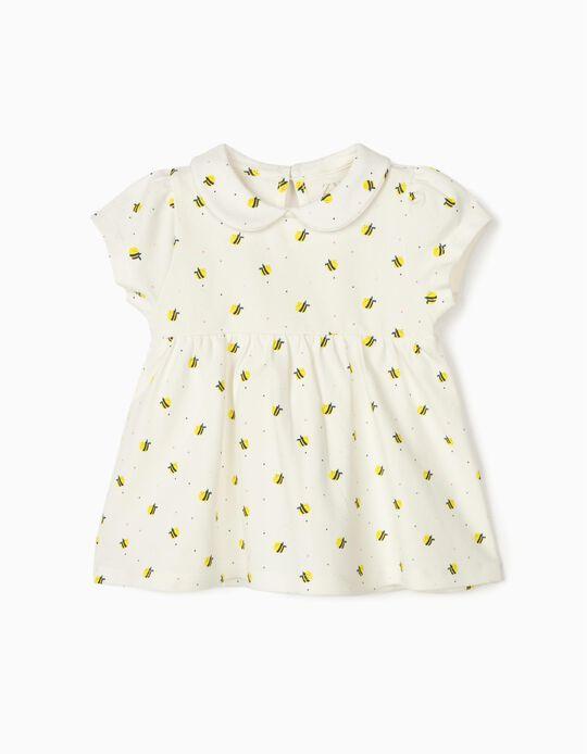 T-shirt Polo para Bebé Menina 'Bees', Branco