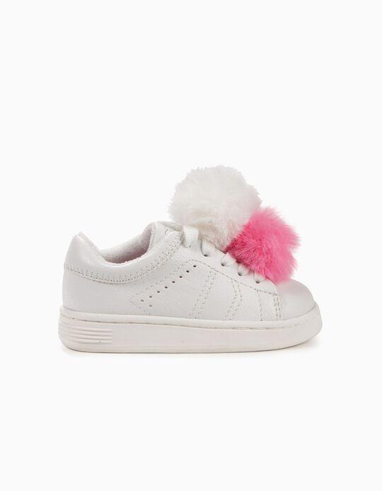 Sapatilhas para Bebé Menina ZY com Pompons, Branco