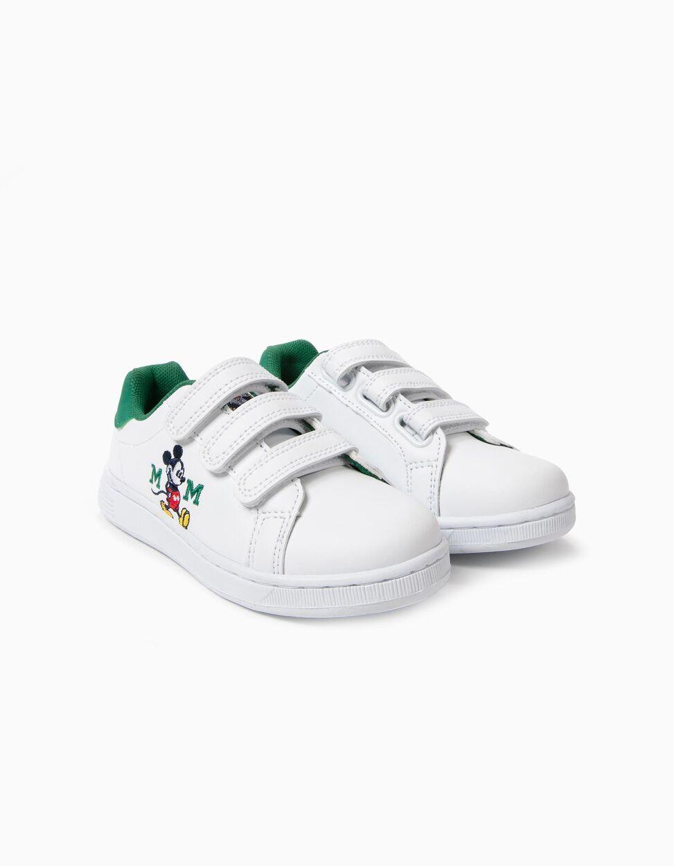 Zapatillas con Cierre Autoadherente Mickey Blancas