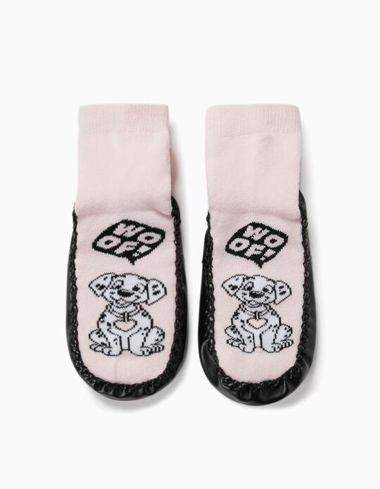 Non-slip Slipper Socks for Girls, '101 Dalmatians', Pink/Black