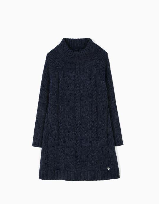 Vestido de Malha Azul Escuro